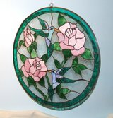 Stained Glass Art Humming Birds / Pink Roses in Glendale Heights, Illinois