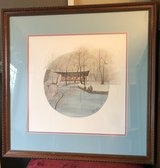 "Pat Buckley Moss Framed Print ""River Work"" Naperville River Walk in Naperville, Illinois"