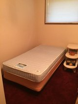 Single bed with metal adjustable frame, box spring and firm mattress in Glendale Heights, Illinois