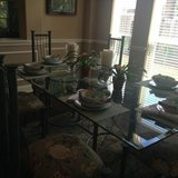 Beautiful glass dining room set and 6 chairs in The Woodlands, Texas