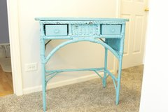 Wicker and Wood Small Desk/Side Table in Naperville, Illinois