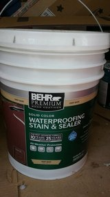New BEHR 5 gal pail solid stain - Color Russet in Naperville, Illinois