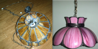 Vintage Tiffany Style Brown -OR- Pink Chandelier / Swag Lamp Light Fixture ~$40EA in Westmont, Illinois