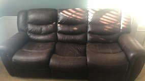 Brown leather couch in Cincinnati, Ohio