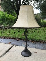 Wrought iron lamp and shade in Kingwood, Texas