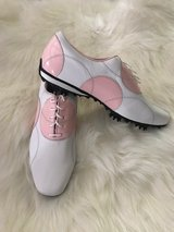 Women's FootJoy LoPro White Milled/ Pink Patent Golf Shoes in Camp Lejeune, North Carolina