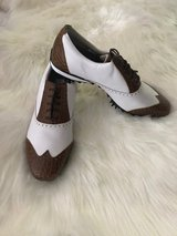 Women's FootJoy LoPro Wing Tip White Milled/ Brown Croc Print Golf Shoes in Camp Lejeune, North Carolina