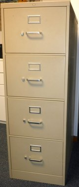 Beige Metal File Cabinet Legal Size - 4 Drawer + 95 Pendaflex Legal Size Hanging Folders in Chicago, Illinois