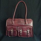 Like New - Women tote-carry all bag in burgundy 100 Vegan croc embossed leather in Yucca Valley, California