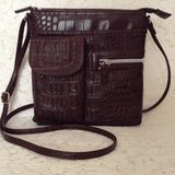 NEW-Crossbody multi-organizer purse in burgundy tone croc embossed 100 vegan leather in Yucca Valley, California