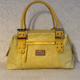 """Original by Sharif 1827"" Satchel in yellow ornate embossed genuine leather and bold hardware in Yucca Valley, California"