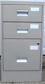 Metal File Cabinet - 3 Drawer Putty - NO Key + Hanging Folders in Chicago, Illinois