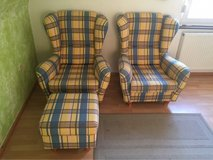 2 wing chairs & ottoman in Ramstein, Germany