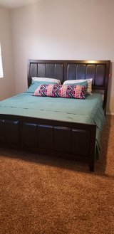 New California king bed frame, mattress, base and 2 side table combo in Alamogordo, New Mexico