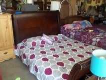 Queen Size Cherry Wood Sleigh Bed in Fort Riley, Kansas