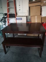 Heavy Solid wood table w/& bench in Fort Campbell, Kentucky