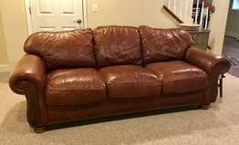 Flexsteel Leather Couch with Nailhead Trim in Aurora, Illinois