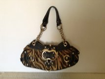 GUESS shoulder bag made with black, beige and brown, printed suede faux material. in Yucca Valley, California