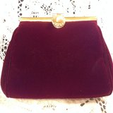 Red velvet evening purse with retractable and detachable gold tone shoulder chain in Yucca Valley, California