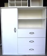 SALE PENDING - White Storage Unit - Bookshelf - 3 drawers - Door w/more shelf Storage in Chicago, Illinois