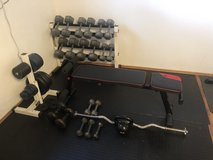 Home Gym - Dumbbells, dumbbell bench, 2 rubber mats, curling bar and plates in Wiesbaden, GE