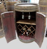 French wine barrel with rack, glassholder and doors in Ramstein, Germany