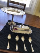 silver plate pastry dish, butter dish and spoons in Fort Riley, Kansas