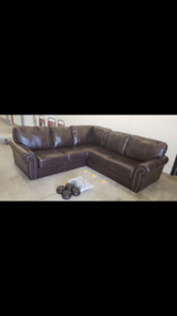 Leather sectional sofa-Chocolate Brown in Chicago, Illinois