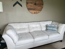 2 newer linen colored and material couches from vcf in Aurora, Illinois