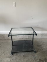 TV Stand, black metal, glass top, used in Fort Knox, Kentucky