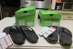 CROCS - Womens Black Flip Flops Size 8 -- New In Boxes - 2 Pairs Available in Houston, Texas