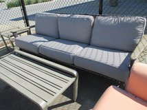 """Outdoor Sofa with Faux Rattan and """"Stone"""" Accents in Westmont, Illinois"""