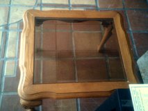 Wood end table with smoke glass inlay in Alamogordo, New Mexico