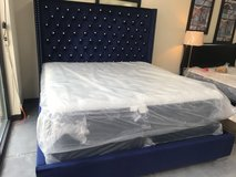 Navy Blue Tufted King Bed in Beaufort, South Carolina