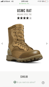 USMC RAT MOJAVE STEEL TOE SIZE 11 in Okinawa, Japan