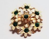 Vintage Gold Tone White Green Gem Stone Floral Flower Pedal Brooch Lapel Pin Scarf in Kingwood, Texas