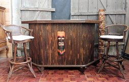 Real Bamboo Tiki Bar with 4 Matching Barstools in Ramstein, Germany