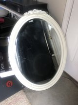 large wooden cream/white oval mirror in Camp Lejeune, North Carolina