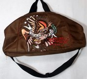 Don Ed Hardy Duffle Gym Death Glory Born Free Bag Duffle Gym Brown in Chicago, Illinois