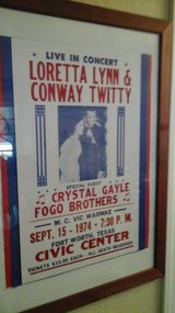 Orginal Concert Poster '74 Country  Music Loretta Lynn Conway Twitty Crystal Gayle Fogo Brothers... in Oswego, Illinois