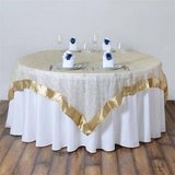 "85"" x 85"" Champagne Satin Edge Embroidered Sheer Organza Square Table Overlay in Macon, Georgia"