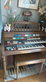 Wurlitzer Total Tone Deluxe Organ ORBIT Synthesizer and Wood Bench with storage in Naperville, Illinois