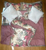 Like New! Queen Reversible Comforter Set - Pillows Shams Dust Ruffle in Westmont, Illinois