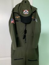 Halloween kids JET FIGHTER COSTUME WITH AVIATOR GLASSES AND HAT SIZE 6-7 in Joliet, Illinois