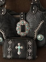 Black Turquoise style cross handbag and wallet in Alamogordo, New Mexico