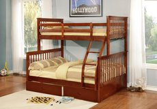 Walnut Twin over Full Bunkbed (M) $450 / $50 Down in Kingwood, Texas