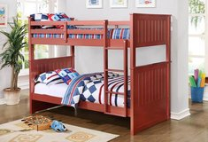 Red twin over twin bunkbed (M) $380 / $50 down in Kingwood, Texas