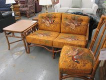 Vintage Rattan Love-Seat, Side Chair and End Table in Westmont, Illinois
