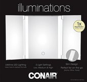 New! Conair Trifold 1X LED Lighted Vanity Mirror ~ White in Joliet, Illinois