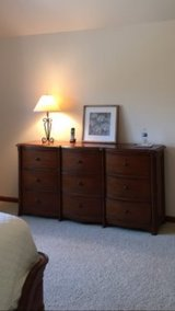 Dresser, large 9 large drawers, solid oak, dresser is approximately 6' long and 2' deep in Westmont, Illinois